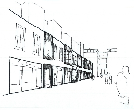MR concept sketch Qway retail street